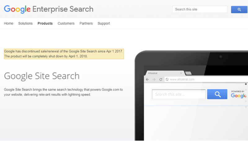 Mitä tilalle, kun Google Site Search päättyy?