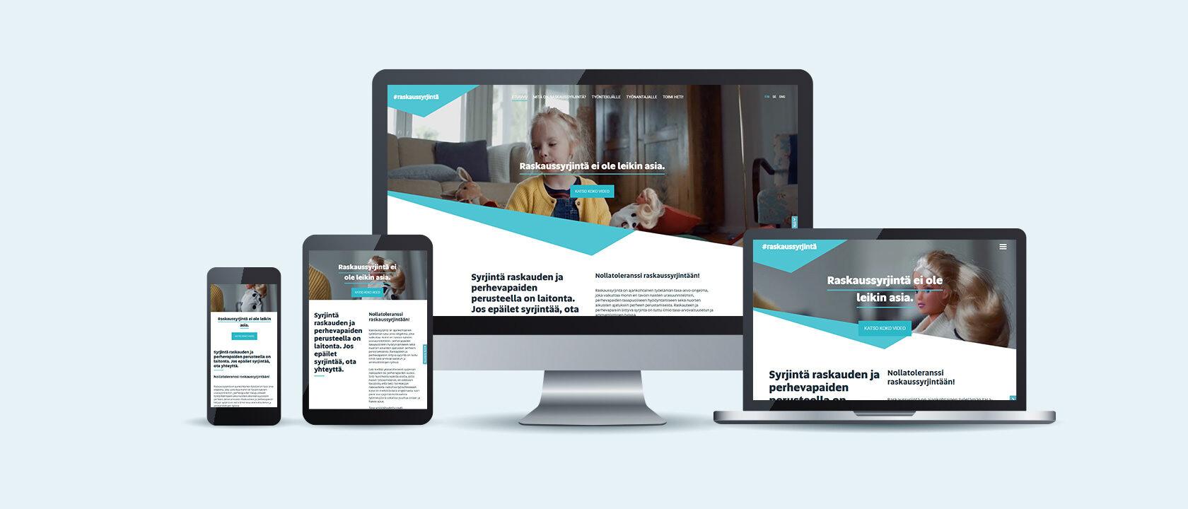 Raskaussyrjinta.fi rakennettiin alisivustoksi Liferay-portaaliin