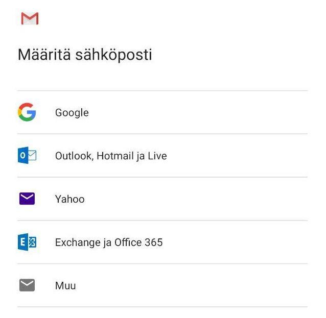 Määritä sähköposti näkymästä valitse Muu