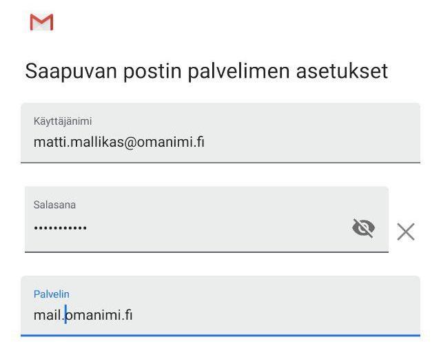 Tämän jälkeen määritä Saapuvan sähköpostipalvelimen asetukset.