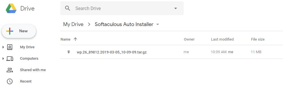 Näet tallennetut varmuuskopiot Google Drivestasi hakemistossa Softaculous App Installer.