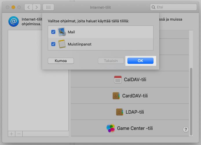 Nyt sähköpostitili on lisätty. Vahvista vielä OK niin Apple Mail aloittaa sähköpostien lataamisen.