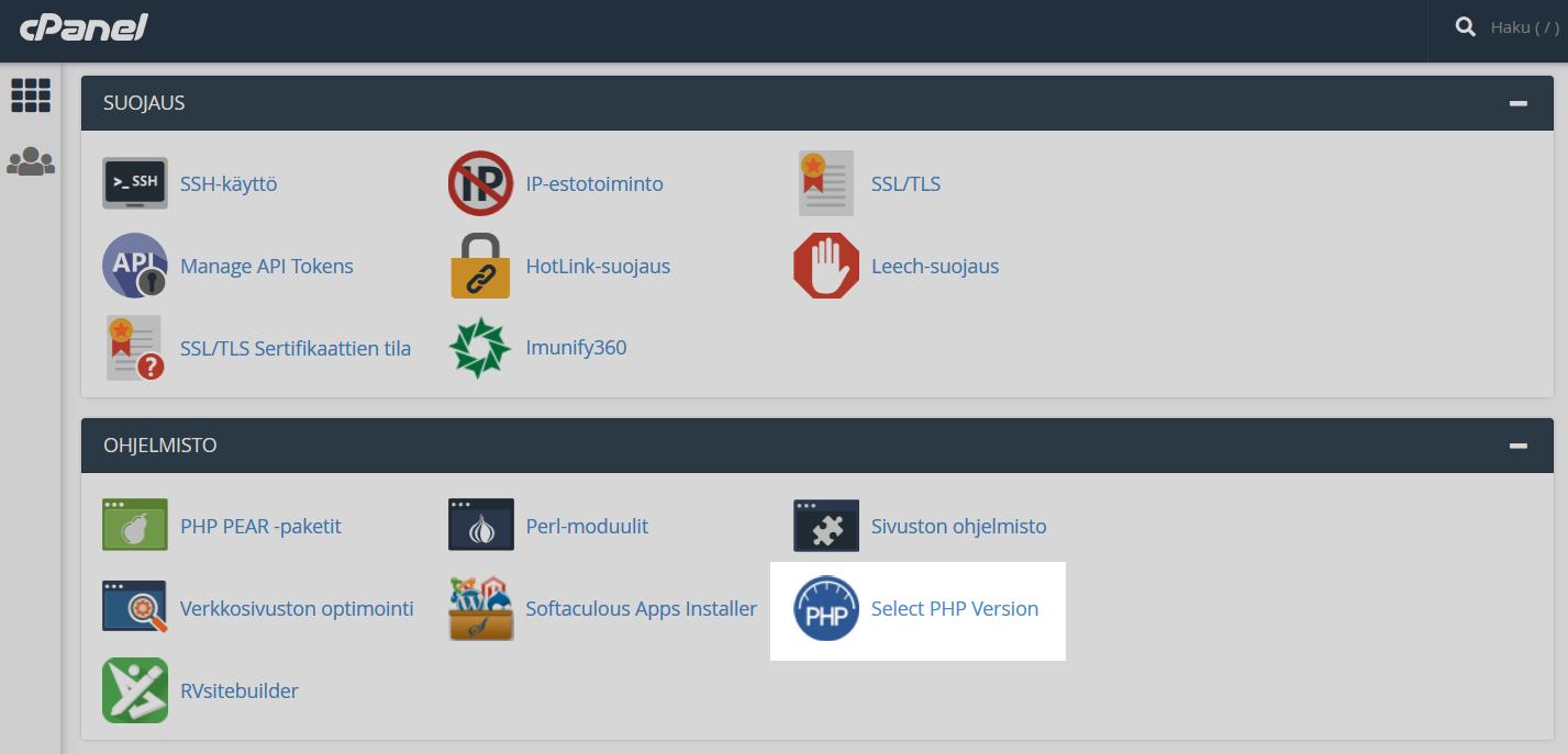 Voit vaihtaa PHP-version cPanelista kohdasta Ohjelmisto -> Select PHP Version.