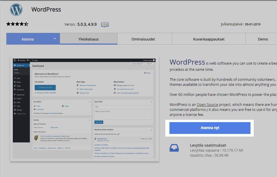 Softaculous-asennusohjelma avautuu. Valitse sitten Asenna nyt aloittaaksesi WordPressin asennuksen.