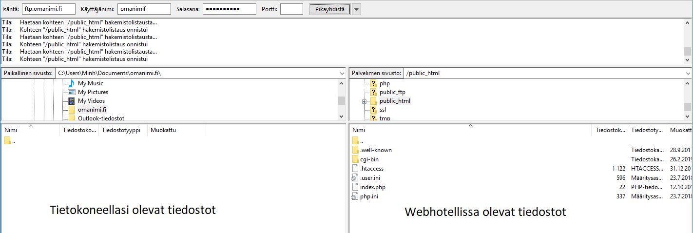 Vastaavasti voit ladata tiedoston webhotellista omalle tietokoneellesi raahaamalla tiedostot oikean puolisesta näkymästä tietokoneellesi.