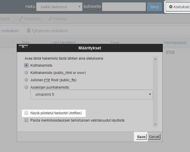 Public_html-hakemistossa valitse oikeasta yläkulmasta Asetukset ja sitten valitse Näytä piilotetut tiedostot (dotfiles).