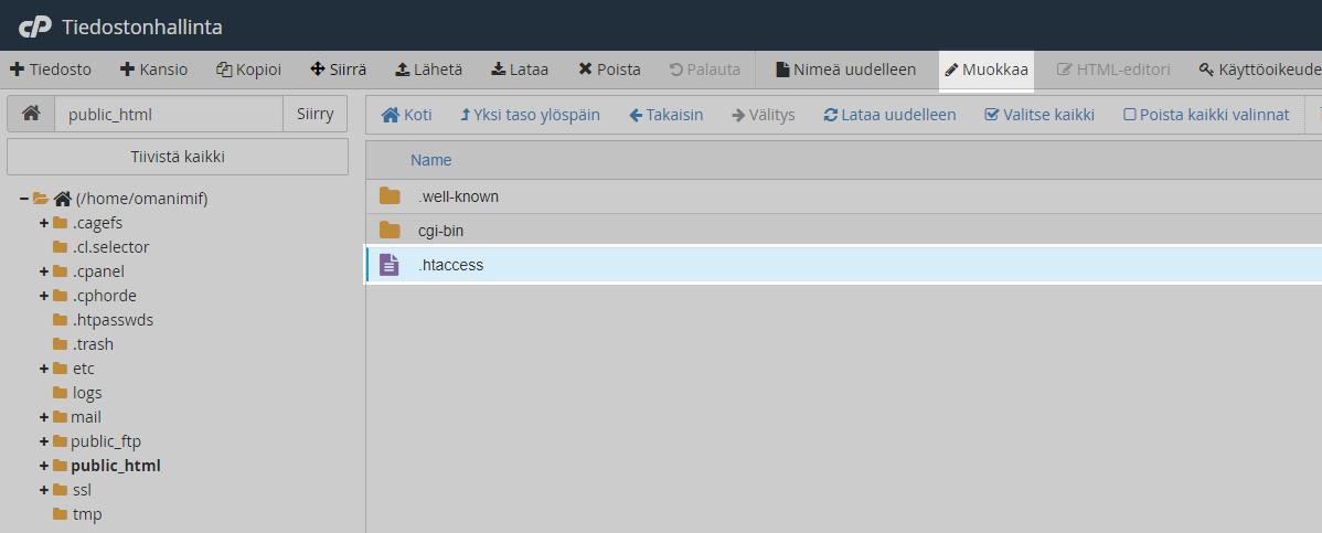 Asetuksien tallentamisen jälkeen tulee näkyviin .htaccess tiedosto. Valitse tiedosto ja tämän jälkeen Muokkaa.