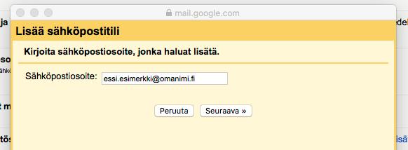 Kirjoita tähän uuteen aukeavaan ikkunaan Planeetta.fi palvelussasi luoma sähköpostiosoitteesi ja klikkaa Seuraava.