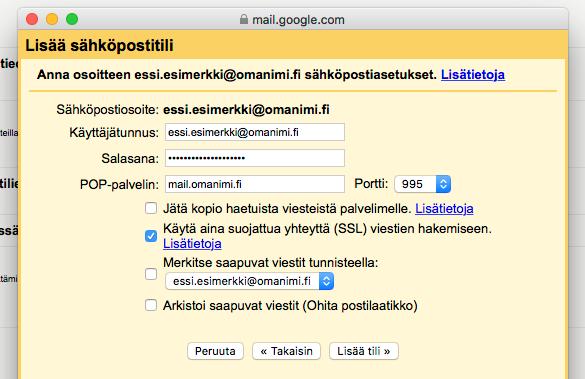 Syötä käyttäjätunnuksesi ja sähköpostitilisi salasana