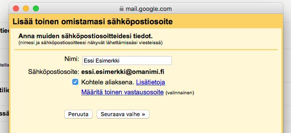 Seuraavalla sivulla syötä sähköpostin lähettäjänimesi, eli viestin vastaanottajan näkemä nimi.