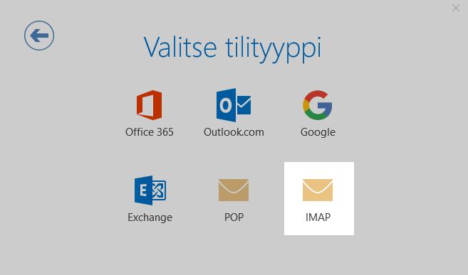 Valitse sähköpostitilin tyypiksi IMAP