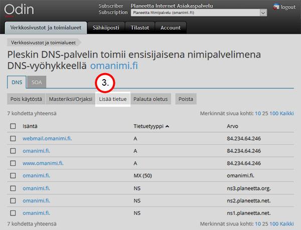 DNS-asetukset - lisää tietue
