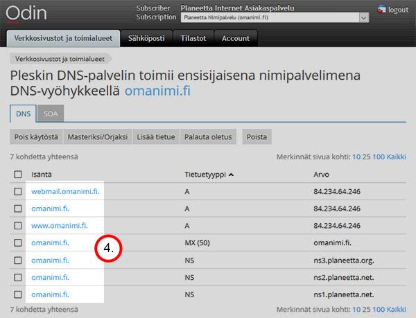 DNS-asetukset - isäntänimi
