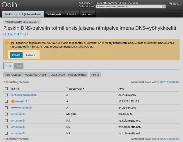 DNS-asetukset - vahvista muutokset